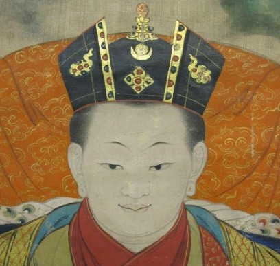 9th Karmapa Wangchuk Dorje with Black Crown rendered in perfect detail