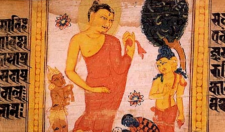 Buddha having descended from the Heaven of Thirty-Three, watercolour feature of a Perfection of Wisdom Sutra manuscript from Nalanda, circa 700-1100 CE