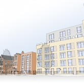 Initial design showing the proposed housing development behind the Beaufoy on Vauxhall Street