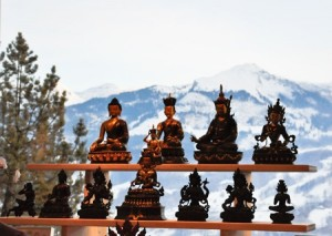 Buddhas in the Swiss Alps (yes, the background is real!)