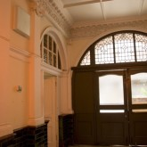 Front door of the Beaufoy Institute seen from inside the hallway