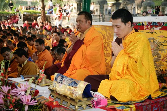 17th Karmapa and Shamar Rinpoche in Bodh Gaya, 2007 (photo: Thule Jug)
