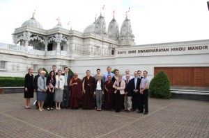 At the BAPS Mandir, H.H. Karmapa together with his entourage
