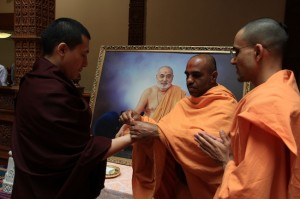 H.H. Karmapa receiving 'nada chadhi' symbolising friendship