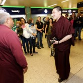 Jigme Rinpoche and friends greeting H.H. Karmapa in Euston station, London 13 July 2012