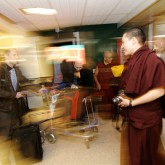 H.H. Karmapa arriving in Euston station, London 13 July 2012
