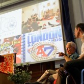 Lama Ole Nydahl and Steve James during London Centre presentation, 14 July 2012