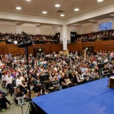 Lama Ole Nydahl teaching to a packed Friends Meeting House, 14 July 2012