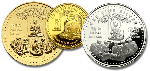 Nepali coins featuring the Buddha