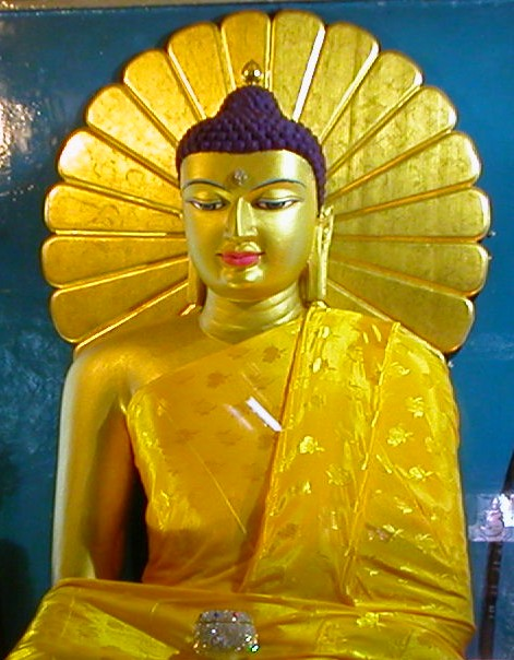 Buddha statue in the Mahabodhi Temple, Bodh Gaya