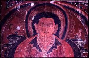 Earliest known painting of Marpa (3rd floor, Sekhar Guthok)